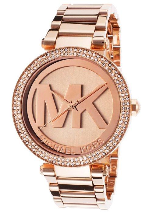 【MICHAEL KORS】正品 MK LOGO 玫瑰金 鑲鑽 計時 手錶 腕錶 MK5865 0