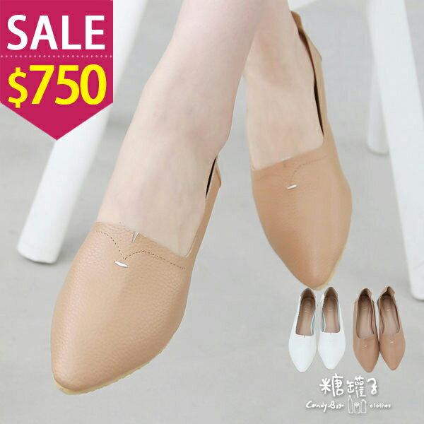 ★原價1400下殺750★糖罐子縫線尖頭平底鞋→預購【DD1583】 0