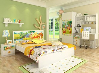 [首雅傢俬]*特價*維尼快樂夥伴雙人房間組-含5尺雙人床、二門衣櫃、床邊櫃、書桌(含上書架)、轉椅