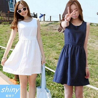 【V0525】shiny藍格子-甜美夏季.蕾絲無袖棉麻背心連身裙