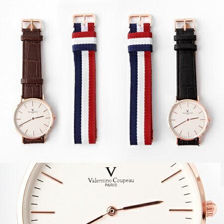 范倫鐵諾Valentino 超薄簡約線條玫瑰金皮革手錶 雙錶帶組合帆布 柒彩年代【NE1849】單支售價 - 限時優惠好康折扣