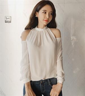 夏새로운性感露肩掛脖防曬薄白色款韓味女裝시퐁셔츠襯衫十天  ~  好康折扣