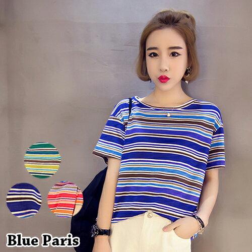 上衣 / T恤 - 百搭圓領短袖混色條紋寬鬆上衣【29102】藍色巴黎《3色》現貨+預購 0