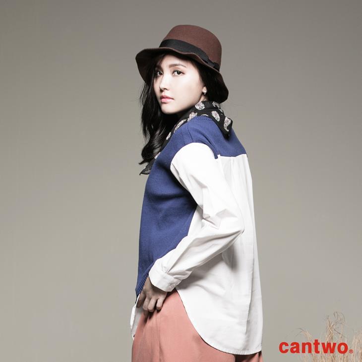 cantwo斜衩拼接假兩件針織上衣(共二色) 2