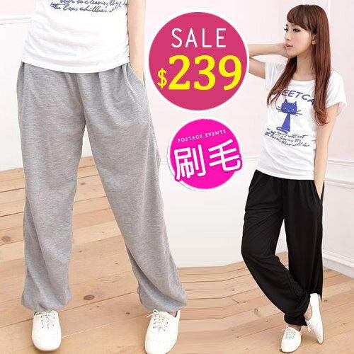 BOBO小中大尺碼【5053】刷毛鬆緊運動棉褲S-5L-4色 - 限時優惠好康折扣