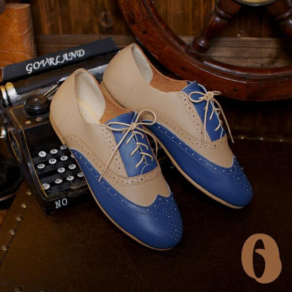 Betel Life 檳榔葉包鞋-牛津手工皮鞋(藍杏拼接) 經典雕花 英倫復古