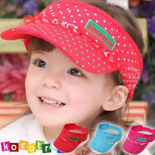 Kocotree◆時尚可愛蕾絲字母點點兒童遮陽帽空頂帽