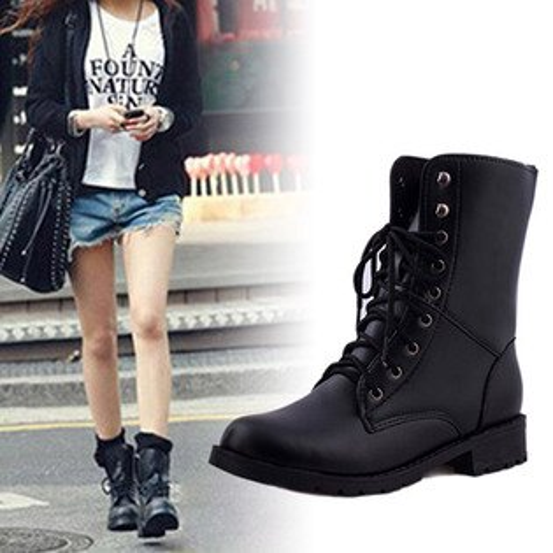 中筒靴-黑潮皮革綁帶中筒靴