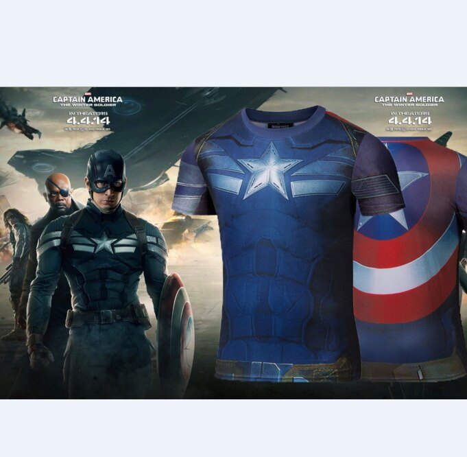 50%OFF【A013171C】美國隊長系列英雄內戰背後盾牌圖案速乾短T漫威卡通復仇者聯盟電影歐美街頭男女可穿