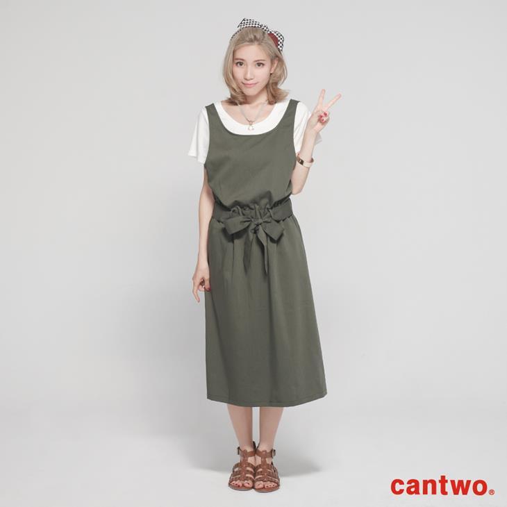 cantwo挖背連身裙+短T兩件式組合(共三色) 0