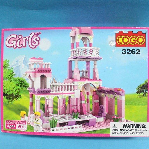 COGO積木 3262 童話公主系列-王子的約會公主城堡 益智積木 約245片/一盒入{促500}~可與樂高混拼裝~CF118817~