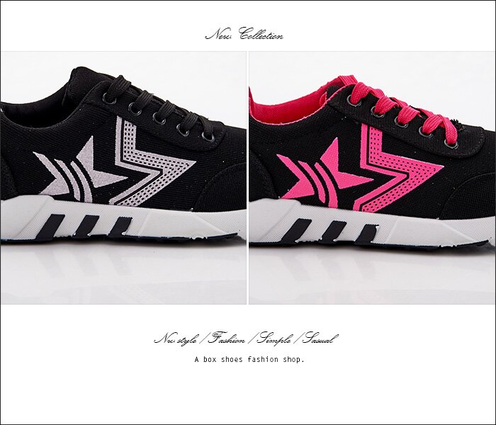 格子舖*【ASB-5】個性時尚韓版布面撞色 星星圖案 綁帶運動休閒鞋 帆布鞋 2色 1
