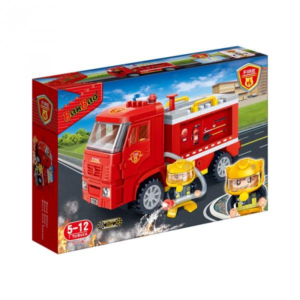 【BanBao 積木】新消防系列-防暴噴水車 7116  (樂高通用) (滿2000元再送積木回力車一盒)