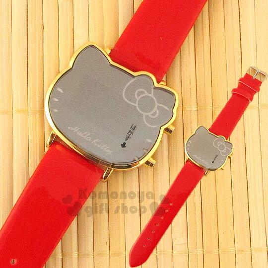 〔小禮堂〕Hello Kitty 鏡面LED電子錶~紅.大臉 ~亮皮錶帶 ~  好康折扣