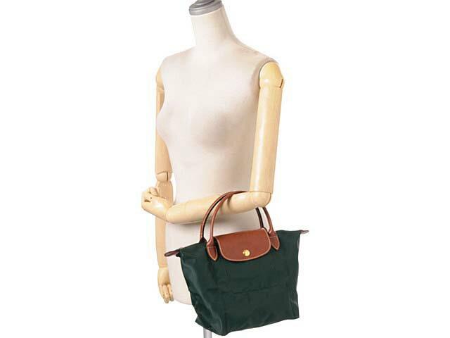 [短柄S號]國外Outlet代購正品 法國巴黎 Longchamp [1621-S號] 短柄 購物袋防水尼龍手提肩背水餃包 墨綠色 3