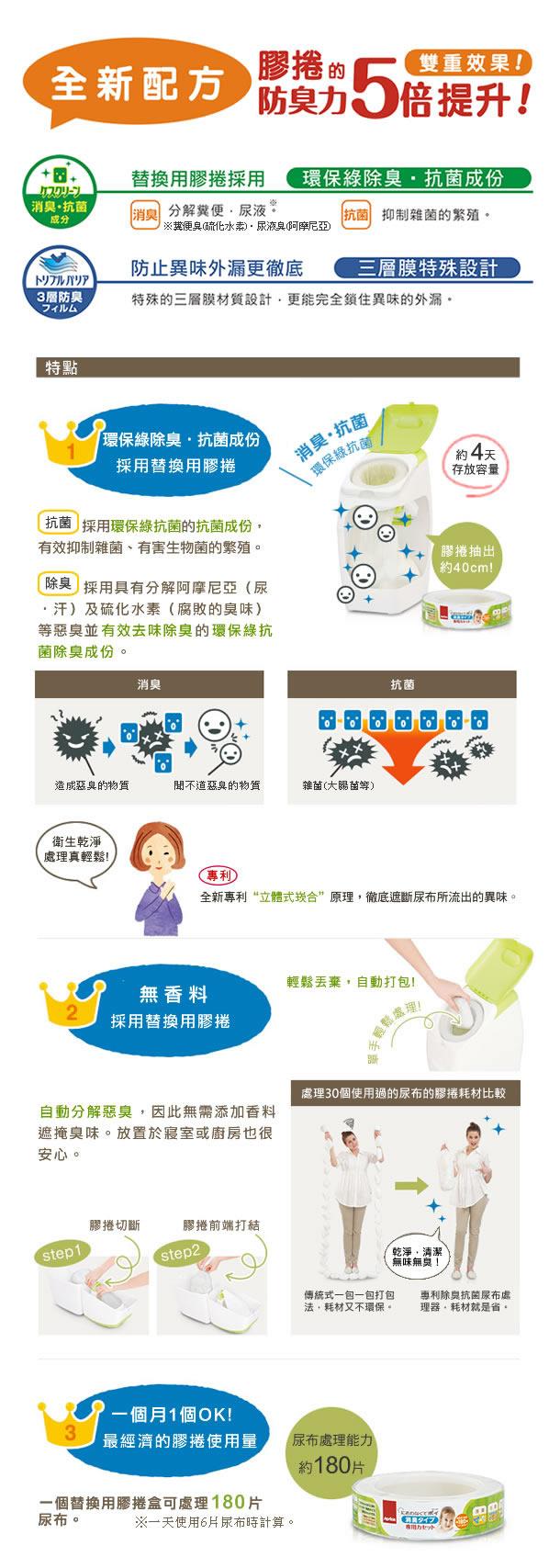 Aprica愛普力卡 - 尿布處理器專用替換用膠捲 -淡香味 (3入) 1