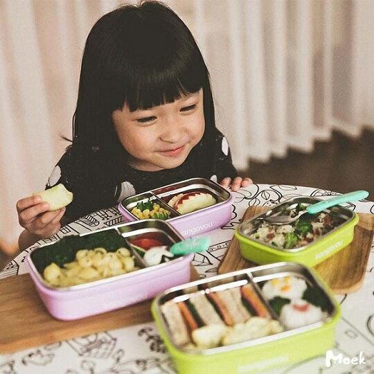 美國【Kangovou】小袋鼠不鏽鋼安全餐盒(紫丁香) 0