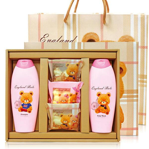 英倫貝爾小熊香氛抗菌 SPA禮盒(1洗髮乳1沐浴乳3抗菌皂) 附贈精美英倫風紙提袋