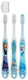 日本製迪士尼冰雪奇緣三入兒童牙刷附刷頭收納盒 /不挑款 (3入)
