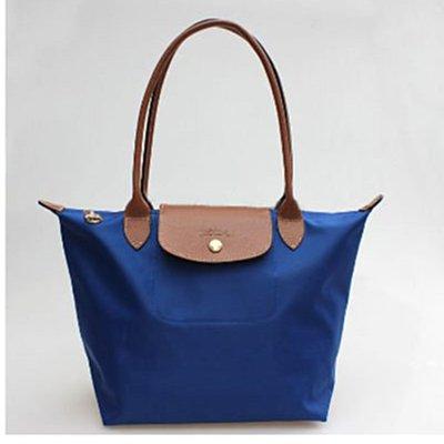 [2605-S號]國外Outlet代購正品 法國巴黎 Longchamp 長柄 購物袋防水尼龍手提肩背水餃包 靛藍色