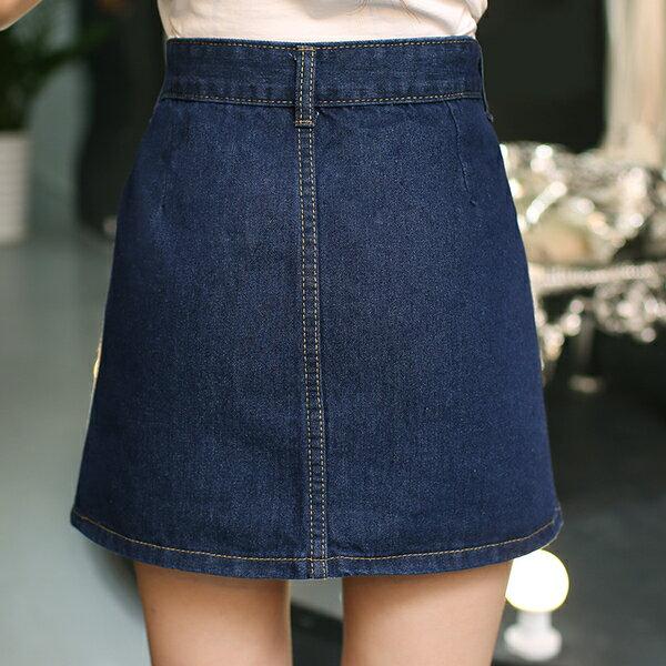 牛仔裙 - 高腰牛仔五釦短裙【23297】藍色巴黎 《M~XL》現貨+預購 1