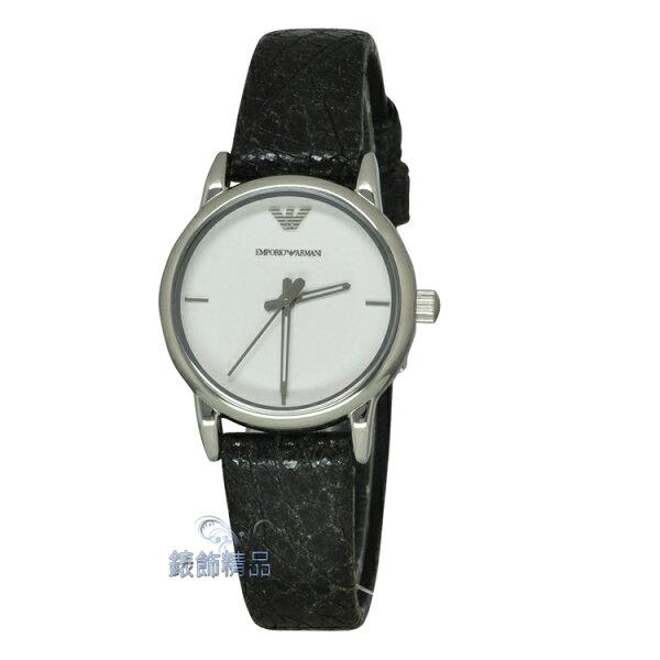 【錶飾精品】ARMANI手錶 亞曼尼 簡約白面 復古壓紋黑皮帶女表 AR1814 全新原廠正品 情人生日禮物