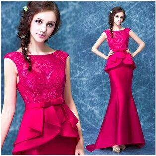 天使嫁衣【AE236】玫紅色包肩收腰包臀小拖尾晚禮服˙預購訂製款