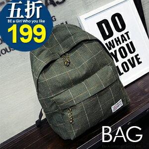 B.A.G*現+預*【BT-GW】韓版秋冬格紋後背包(現+預)4色