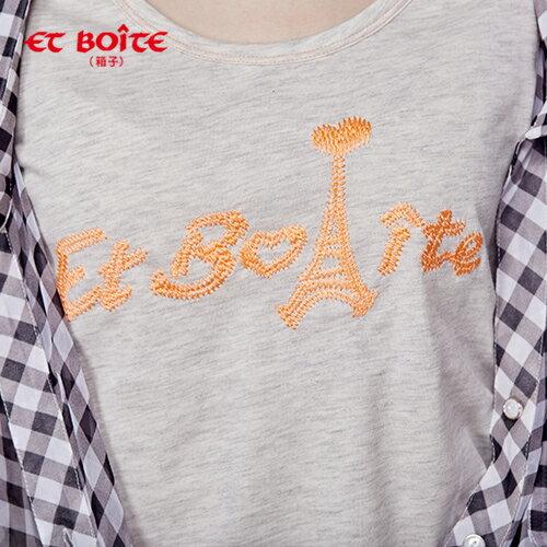 【ET BOiTE 箱子】多穿格紋七分袖雪紡襯衫(附肩帶) 1