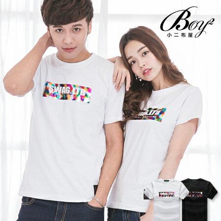 ☆BOY-2☆ 【JJ758】情侶潮流文字彩虹燙金短袖T恤 0