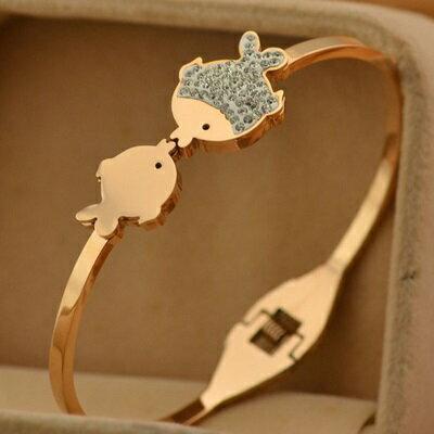 玫瑰金純銀手環 鑲鑽手鍊~可愛接吻小魚 母親節生日情人節 女飾品71ap65~ ~~米蘭