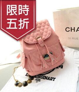 學院風後背包-韓版時尚氣質款~流蘇格菱後背包