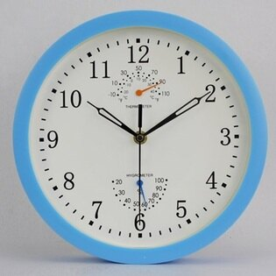 時鐘 藝術掛鐘-溫度濕度計靜音多功能創意壁鐘6色72z14【獨家進口】【米蘭精品】