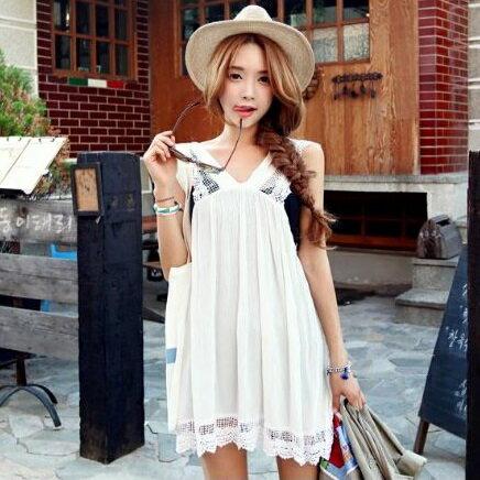 PS Mall 甜美鏤空蕾絲花邊V領無袖連身洋裝 連身裙 洋裝【T999】