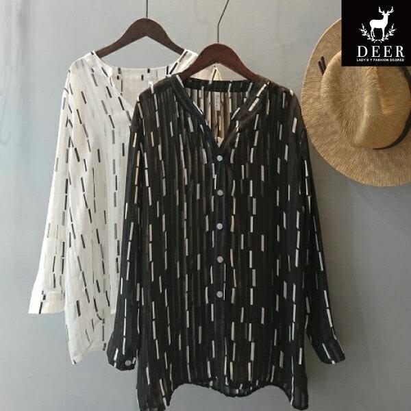 襯衫DEER條紋透視感寬鬆雪紡長袖襯衫 - 限時優惠好康折扣