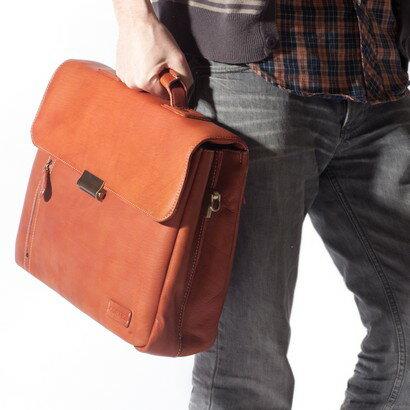 Tassia Barrister Zip Front Flapover Briefcase (cognac) 0