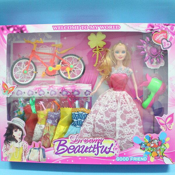 芭比娃娃 + 6件衣服 配件 11吋洋娃娃/一盒入{促250}~睿6003A