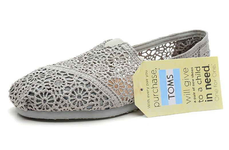 [女款] 國外代購TOMS 帆布鞋/懶人鞋/休閒鞋/至尊鞋 蕾絲系列  灰色 3