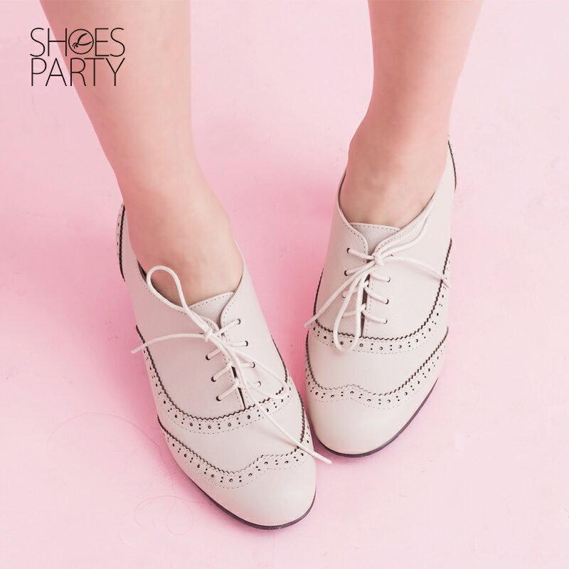 【B2-15062L】英倫牛津中跟踝靴_Shoes Party