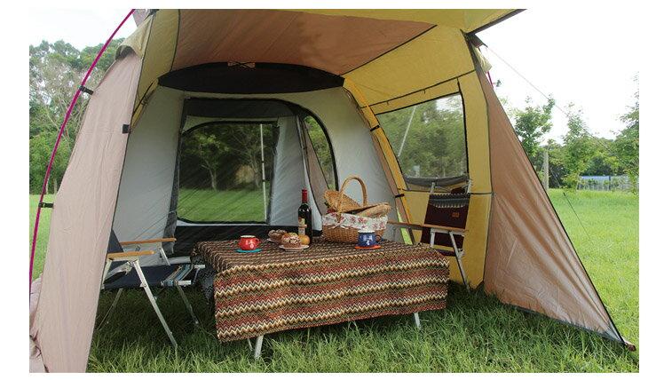 野樂露營達人鋁合金帳蓬,四門可全開每面都有屋簷可展開通風遮陽效果最佳 ARC-643   野樂 Camping Ace 1