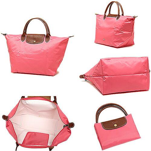 [1623-M號]國外Outlet代購正品 法國巴黎 Longchamp  短柄 購物袋防水尼龍手提肩背水餃包 西瓜紅 3