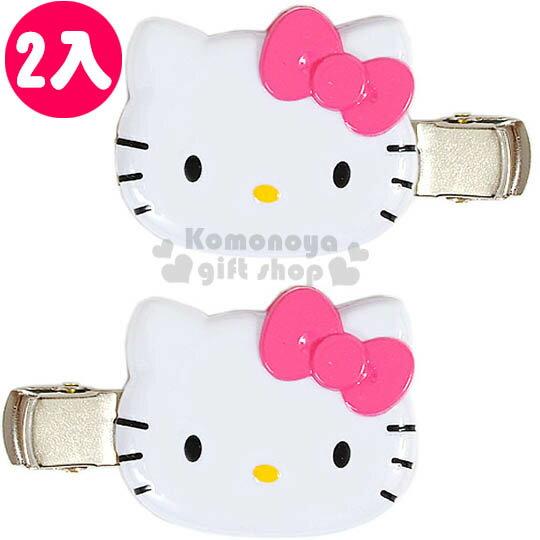 〔小禮堂〕Hello Kitty 造型髮夾《2入.白.粉蝴蝶結.大臉》甜美可愛