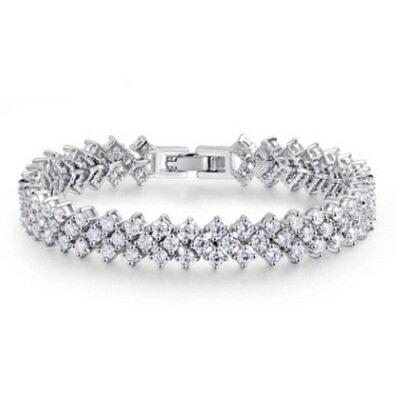 ~純銀手鍊~鍍白金鑲鑽手環~高端精細密釘 情人節生日 女飾品73cv12~ ~~米蘭 ~