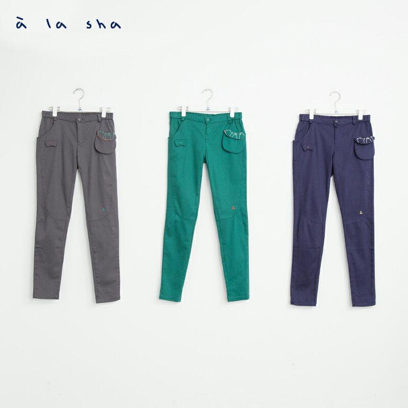 a la sha Qummi 斜紋Q咪繡花口袋長褲 3