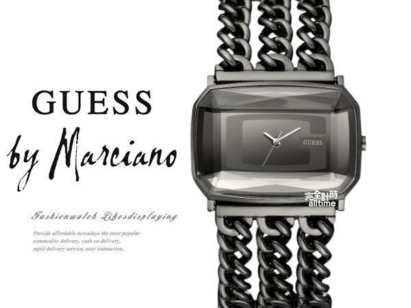 【完全計時】手錶館│美國時尚精品配件-GUESS品牌logo黑鋼手鍊GWW13560下殺女錶