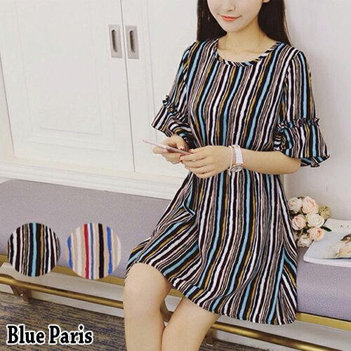 短洋裝 - 混色直條縮腰短袖連衣裙【29133】藍色巴黎《2色》現貨+預購