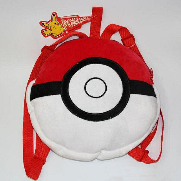 寶可夢 pokemon Go動漫精靈球書包 神奇寶貝毛絨雙肩包後背包