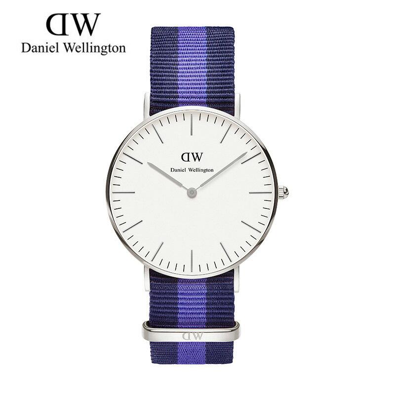 瑞典正品代購 Daniel Wellington 0603DW 銀  尼龍 帆布錶帶 女錶手錶腕錶 36MM 0