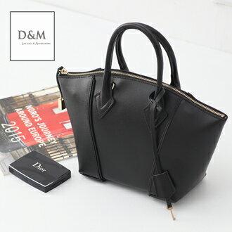 歐美經典時尚真皮鎖頭手提包 側背牛皮包2用波士頓包lockit  D&M【B11135】