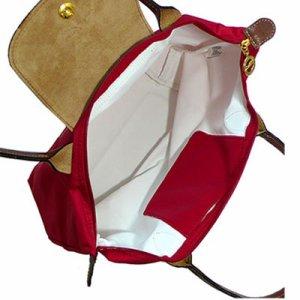 [2605-S號] 國外Outlet代購正品 法國巴黎 Longchamp 長柄 購物袋防水尼龍手提肩背水餃包紅色 3